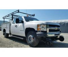 2007 CHEVROLET 3500 EXTENDED CAB UTILITY TRUCK W/RAILGEAR